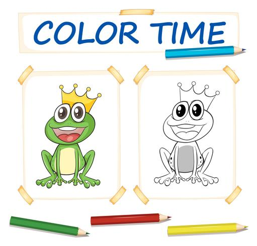 Kleurplaat met kikkerprins
