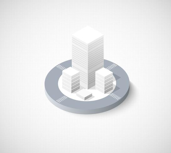 Isométrico área urbana de la ciudad de ilustración con una