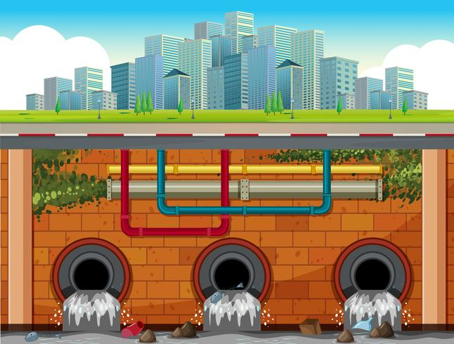 A Drain System Underground of Big Town vector