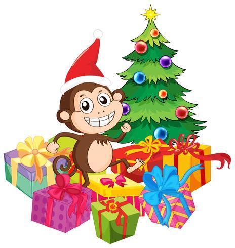 Weihnachtsthema mit Affen und Geschenken