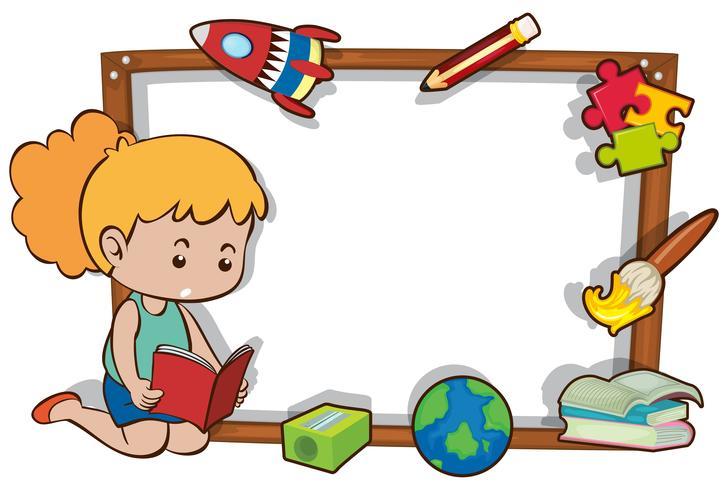 Modello di confine con libro di lettura ragazza