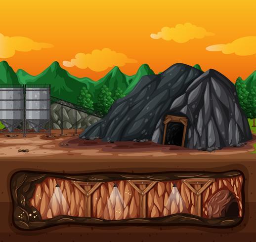 En gruva och underjordisk scen