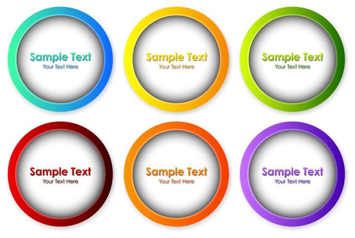 Ronde kaders in zes verschillende kleuren vector