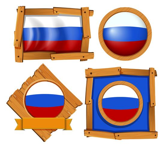 Russland-Flagge auf verschiedenen Bildern
