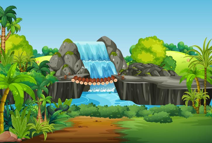 Un paesaggio di cascata della natura