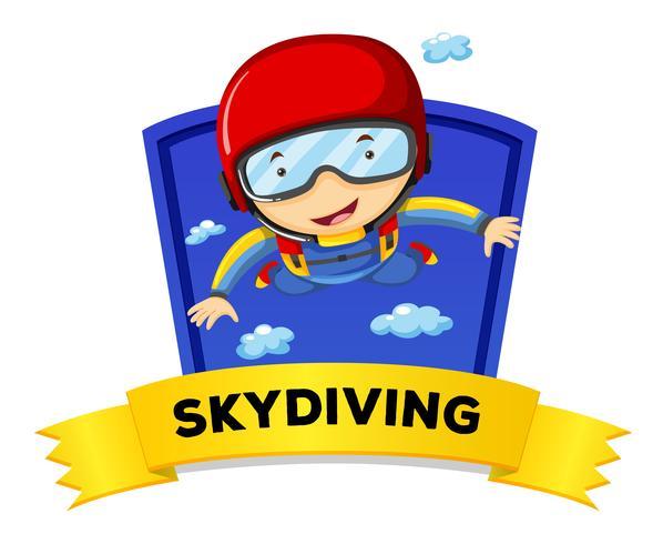 Etikettdesign med man som gör fallskärmshoppning