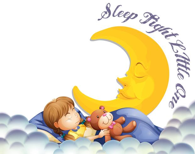 Mädchen schläft mit Teddybär