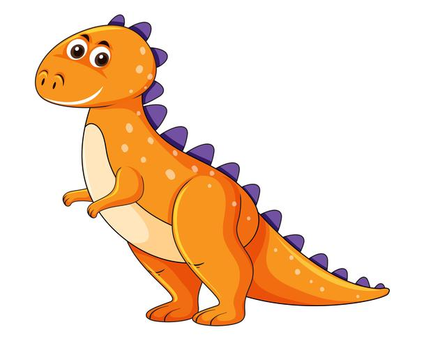 Cute orange dinosaur character vector