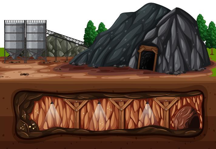 Una miniera di carbone sopra e sottoterra