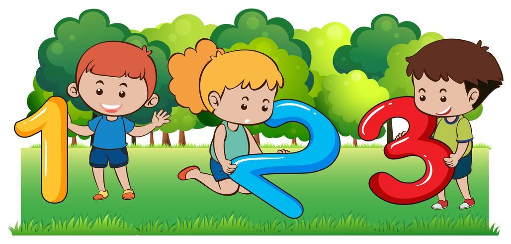 Bambini felici e numeri nel parco