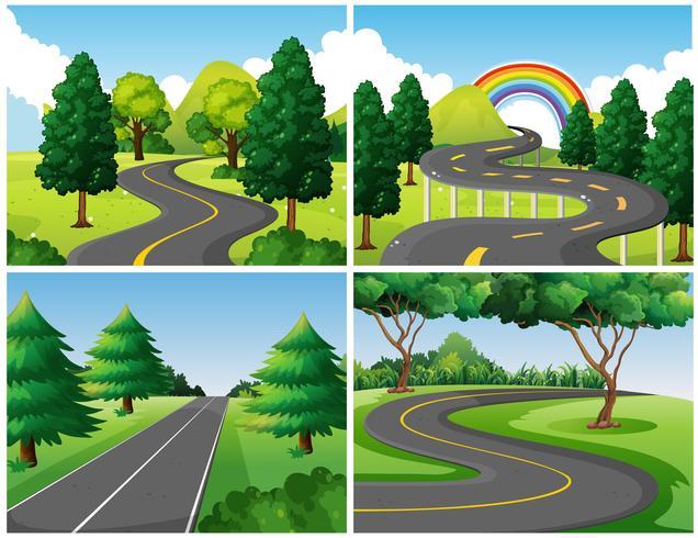 Cuatro escenas de caminos en el parque.