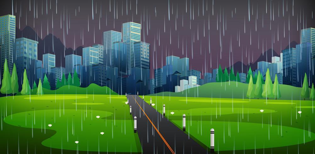 Escena de fondo con lluvia en la ciudad