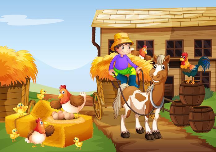 Fermier à cheval dans la ferme