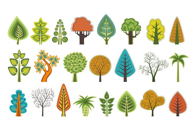 A set of flat silhouettes of trees of vector