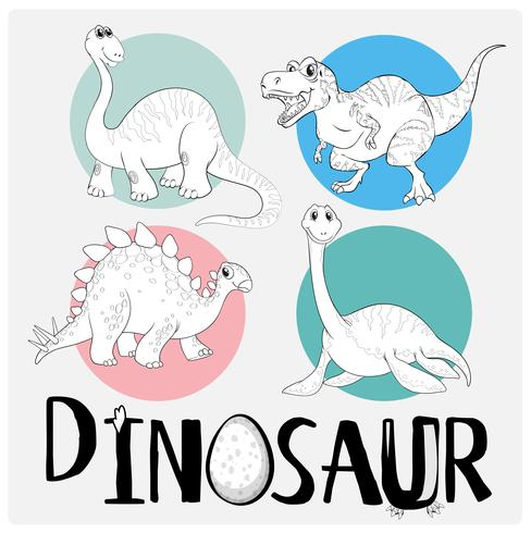 Coloring template with four dinosaurs