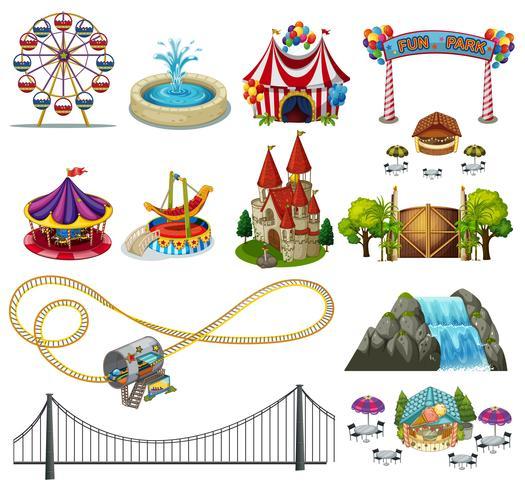 A Set of Theme Park Element  vector