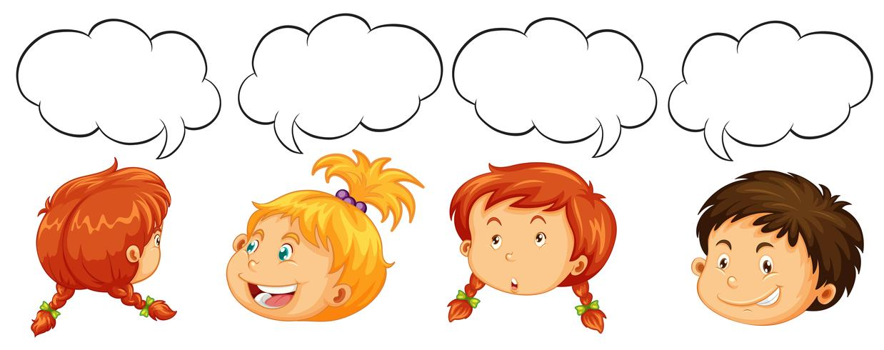 Niños y niñas con plantillas de burbujas de discurso