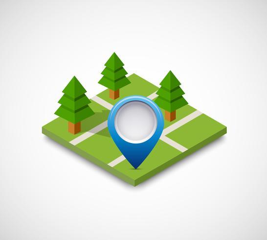 Ícone de pino isométrica no mapa de navegação vetor