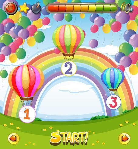 Modelo de jogo com balões no fundo do céu