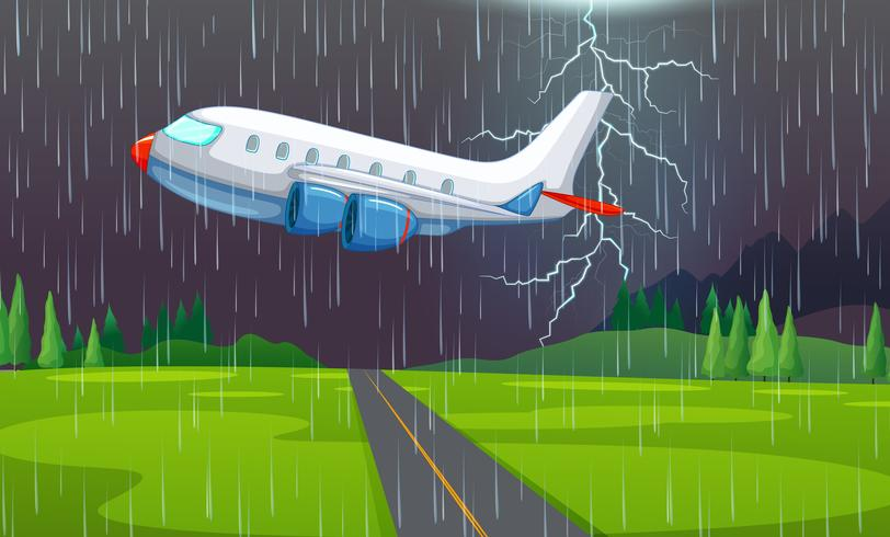 Un avión volando en tormenta eléctrica