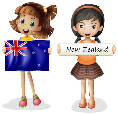 Meninas felizes com a bandeira da Nova Zelândia