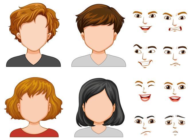 Personagens humanos com rostos diferentes vetor