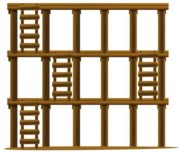Escadas de madeira em três níveis