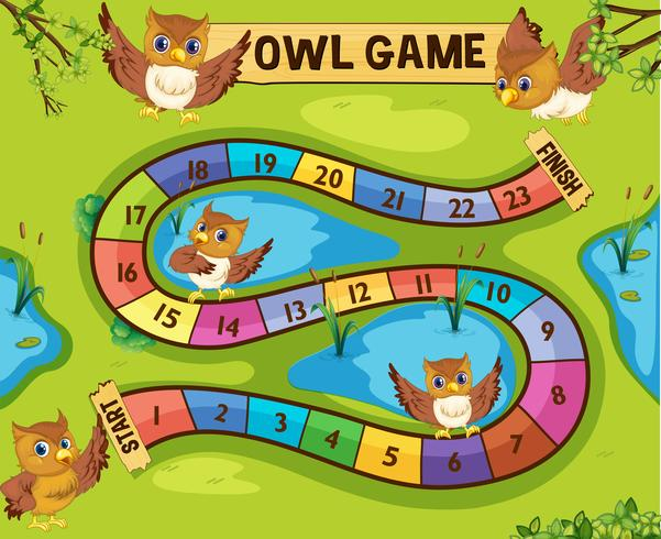 Boardgame template with owls in background