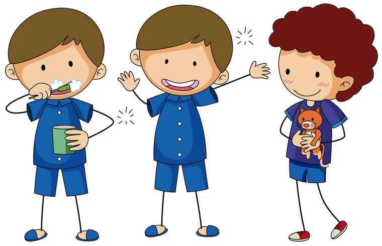 Tres chicos en pijama azul