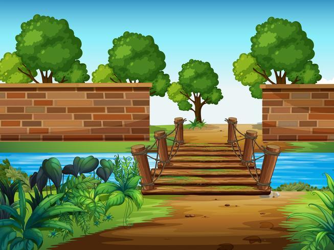 Uma ponte de madeira no parque