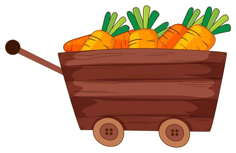 Färska morötter i trävagn
