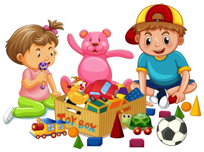Broer en zus spelen speelgoed