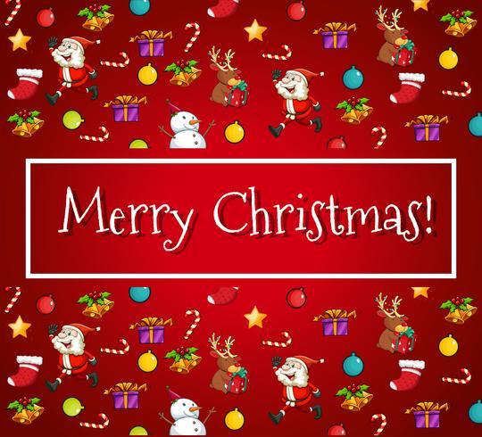 Joyeux Noël carte avec Père Noël et ornements