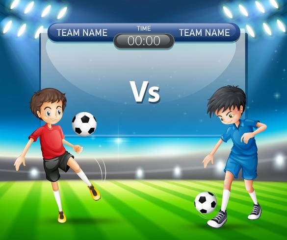 Partita di calcio con il concetto di giocatori vettore