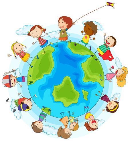 Boys and girls playing around the world