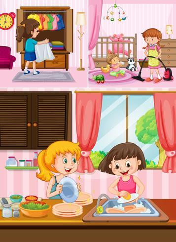 Kinderen die het huis schoonmaken