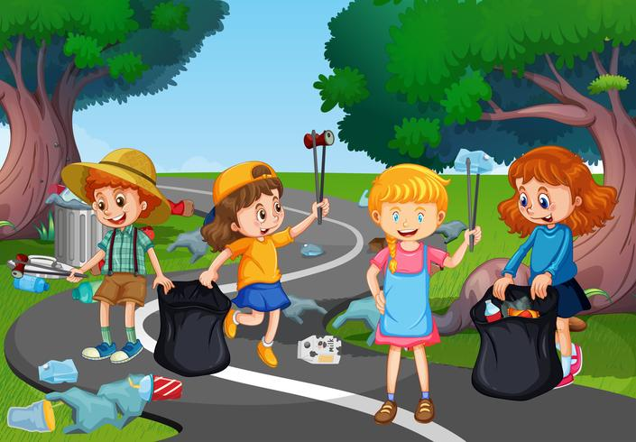 Kinder, die freiwillig den Park aufräumen