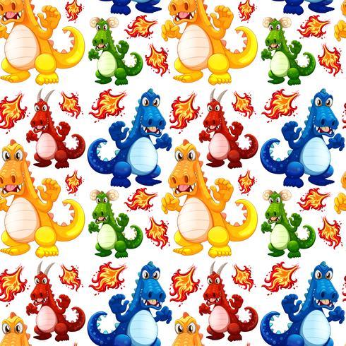 Dinosaurio enojado de patrones sin fisuras