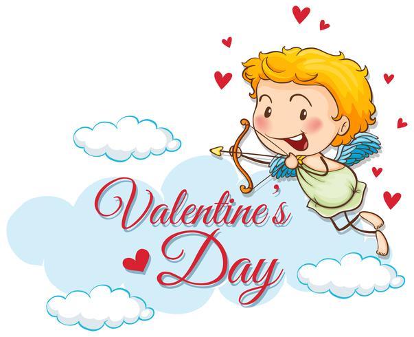 Modello di carta di San Valentino con Cupido carino
