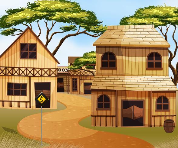 Cidade ocidental com edifícios de madeira