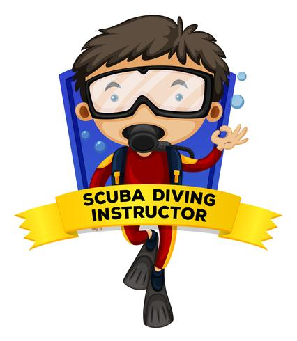 Occupation wordcard with scuba diving instructor