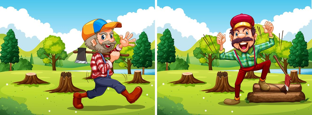 Two lumber jack chopping woods