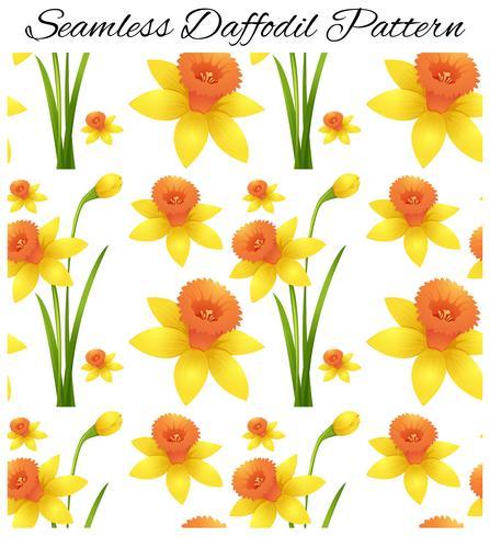 Sömlös design med gul påskliljablommor vektor