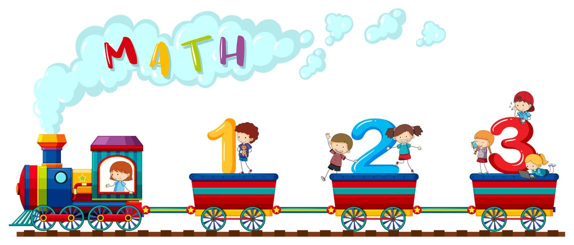 Counting numbers on train with happy children vector