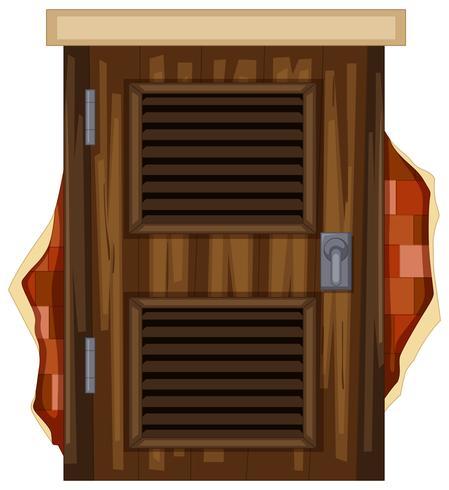 Wooden door on brickwall