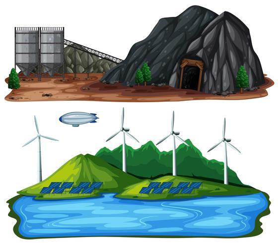 Un ensemble de centrales électriques naturelles