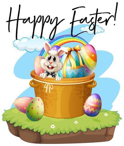 Cartaz de Páscoa feliz com coelho e ovos