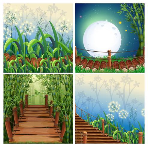 Cuatro escenas de la naturaleza con puente de madera.