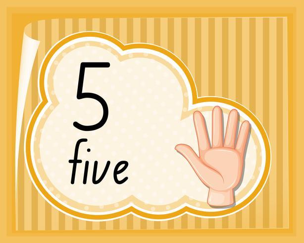 Número cinco gesto de la mano vector