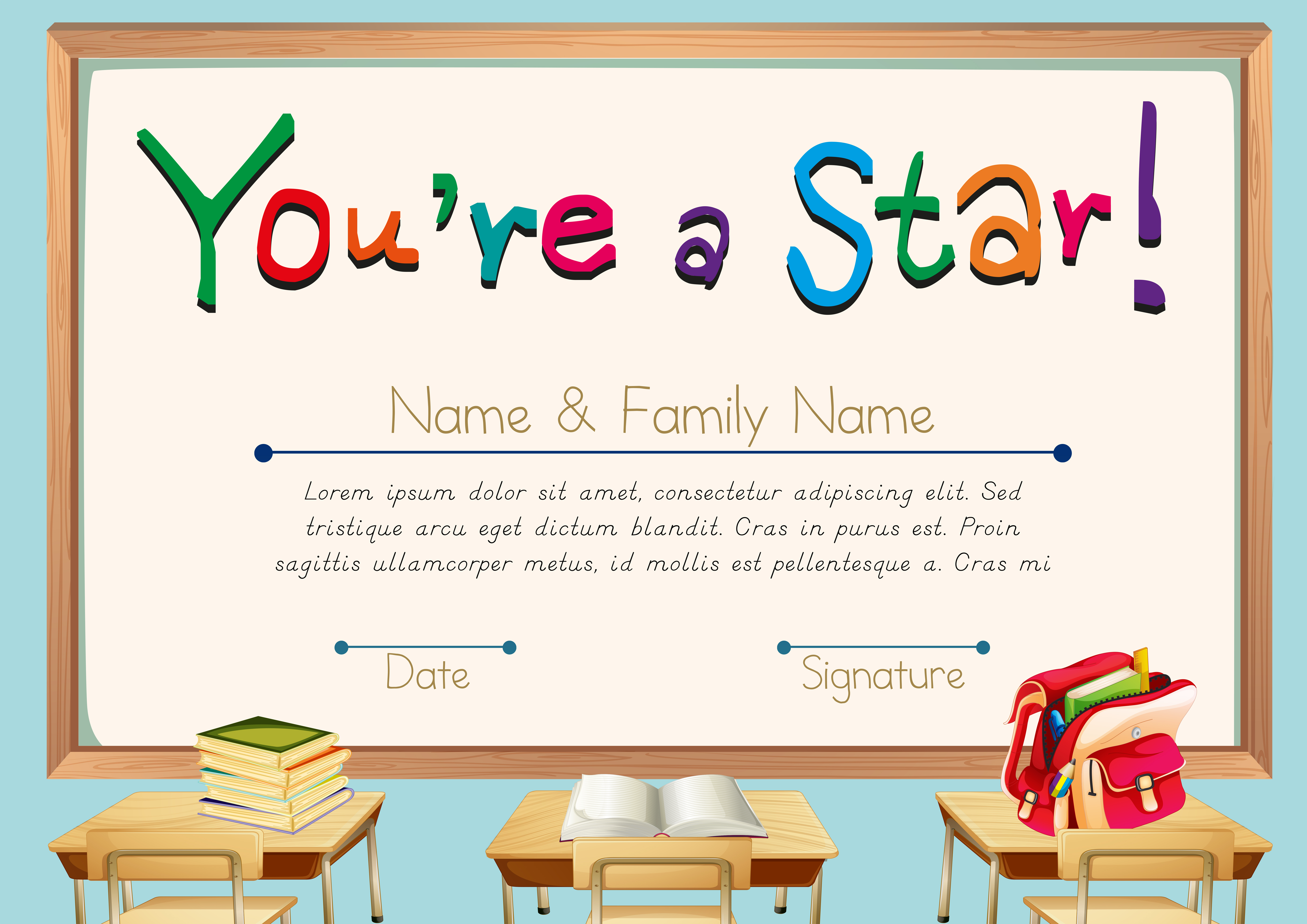 Certificate Template With Books In Classroom Background